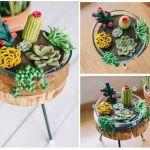 Terrario de cactus a crochet o amigurumi