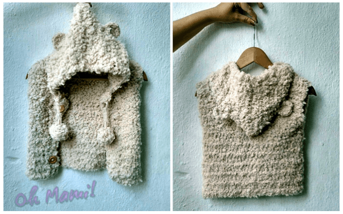 Cardigan o chaleco con capucha infantil a crochet DIY - Patrones gratis 54bdd4a0b17
