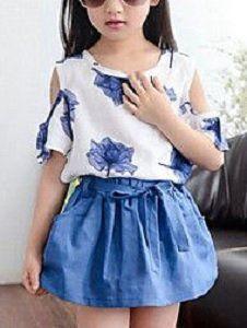 355512cc7 Conjunto blusa sin hombros y falda para niñas - Patrones gratis