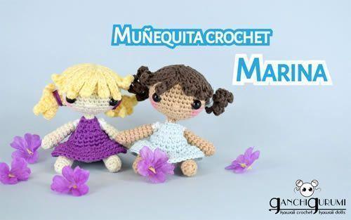 Patrón DIY de Mini muñeca a crochet amigurumi