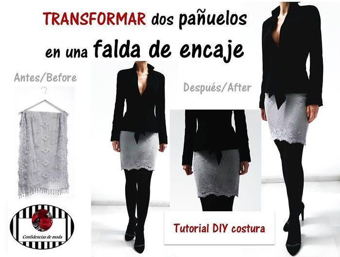 Convertir dos pañuelos en una falda de encaje - Patrones gratis