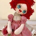DIY cara y pelo de la muñeca primitiva Raggedy ann