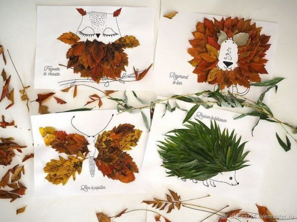 Manualidades para hacer con niños - Artesanía dibujos con hojas
