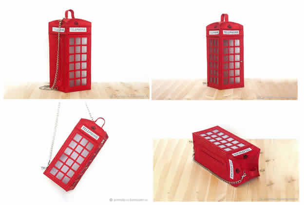 Bolso de fieltro inspirado en cabina de teléfono
