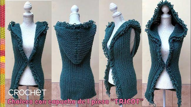 Chaleco con capucha a crochet en punto elástico tricot