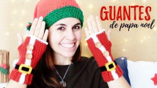 Guantes Papá Noel a crochet