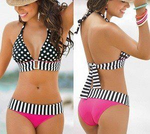 Bikini con franjas patrón gratis