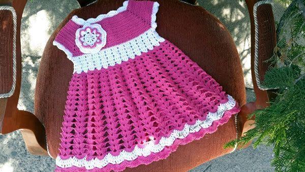 Vestido Niñas Tejido A Crochet Patrones Gratis