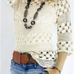 Blusa blanca tejida a crochet