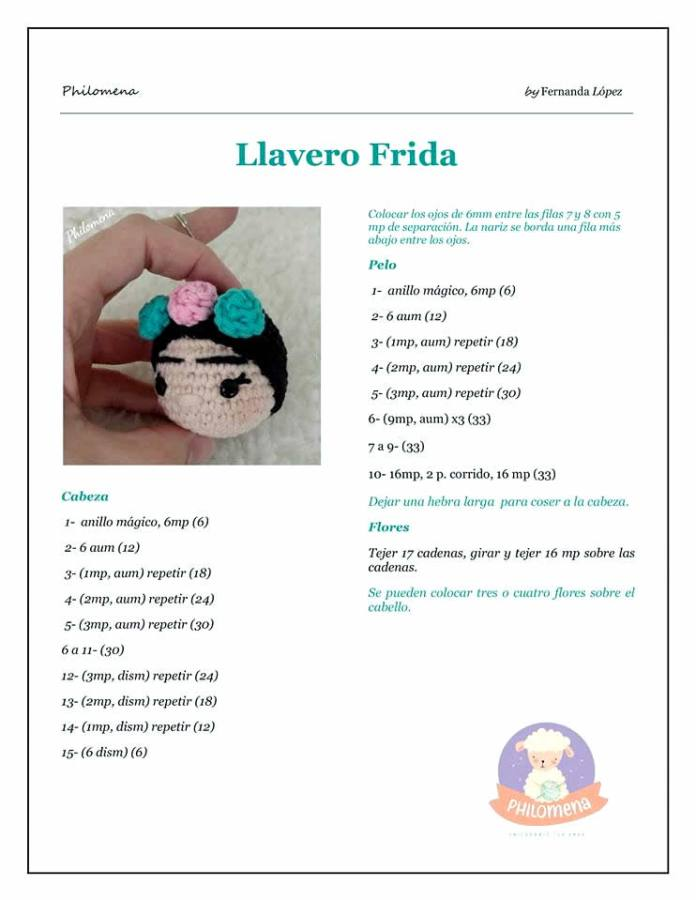 Patrón de Llavero Frida tejido a crochet
