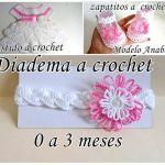 Conjunto de vestido zapato y diadema a crochet