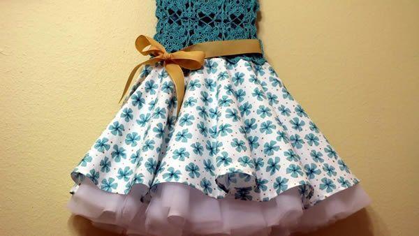 Vestido Circular con Blusa tejida a crochet