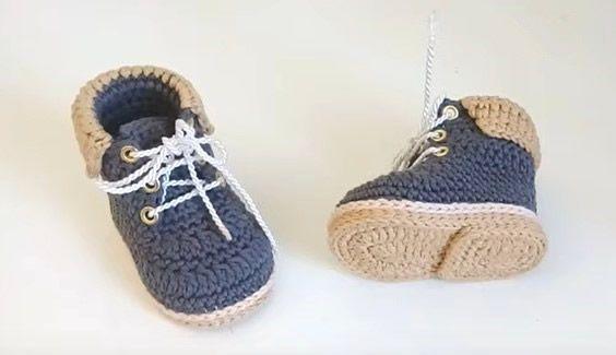 Botas de trabajo para bebe a crochet