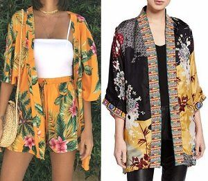 Cárdigan kimono floral con patrón