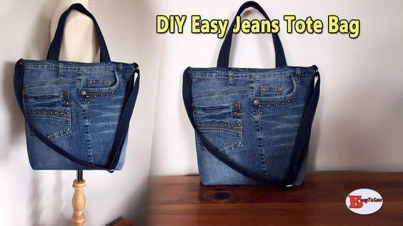 DIY Bolso vaquero jeans fácil con bolsillos Patrones gratis