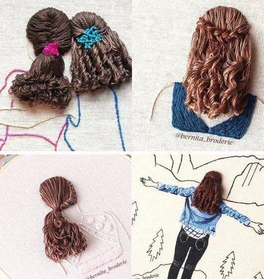 Peinados de mujer en bordado 3D