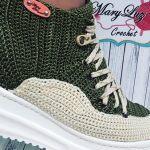 Zapatilla en bota tipo Jordan´s a crochet