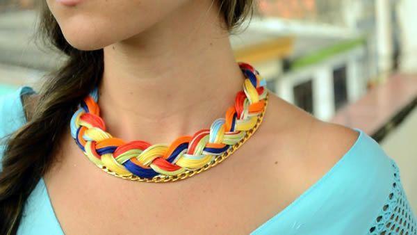 DIY collar tejido con cadena