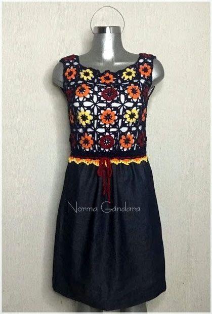 DIY Vestido mezclilla y crochet