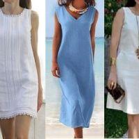 Vestido básico evasé con patrones