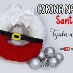 Corona Navideña de Santa Claus a crochet