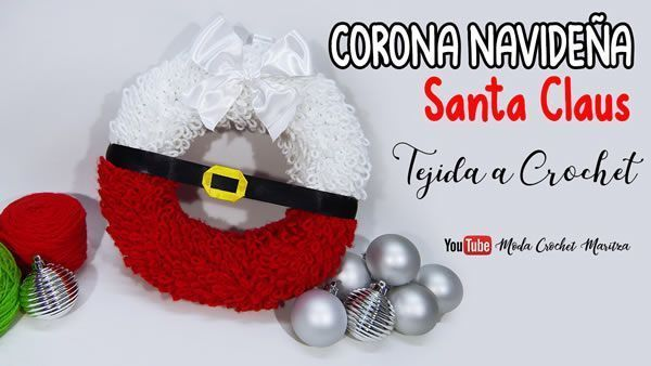 Corona Navideña Santa Claus a crochet