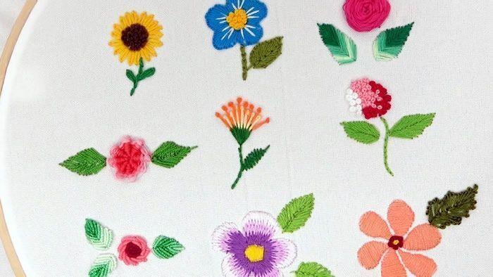 Bordado para Principiantes: 9 Flores Bordadas con Hilo paso a paso ideal para principiantes