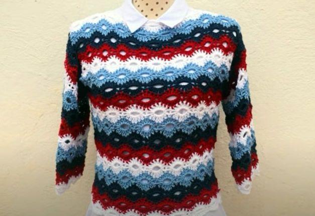 Jersey de primavera tejido a crochet paso a paso