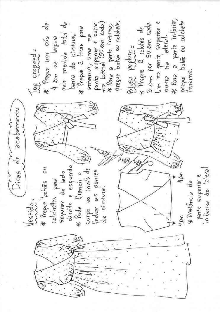 Blusa peplum, top o vestido largo instrucciones