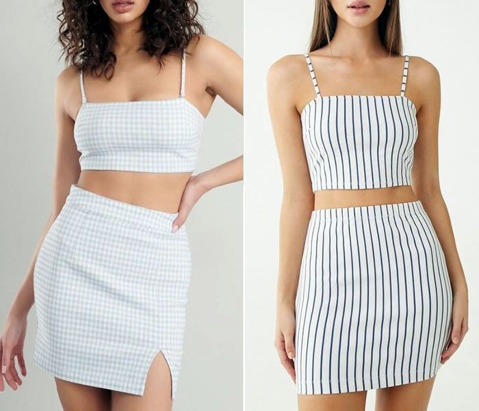 Conjunto de top y minifalda con patrones