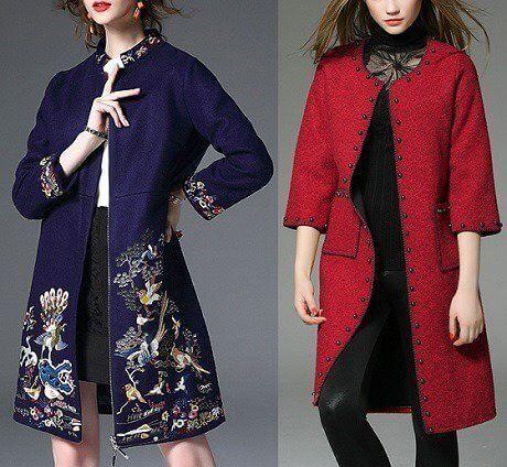 Abrigo de manga larga y cuello chino