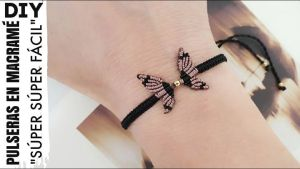 Pulsera Mariposa de hilo con macramé