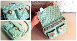 DIY Bolso de crochet con cremallera