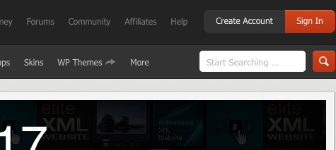 CodeCanyon Login Button on the top right