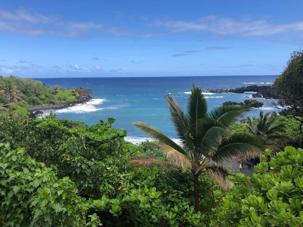 Ocean View from Wai'anapanapa  State Park along the Road to Hana, Maui, HI #roadtohana #maui #hawaii #blacksandbeach