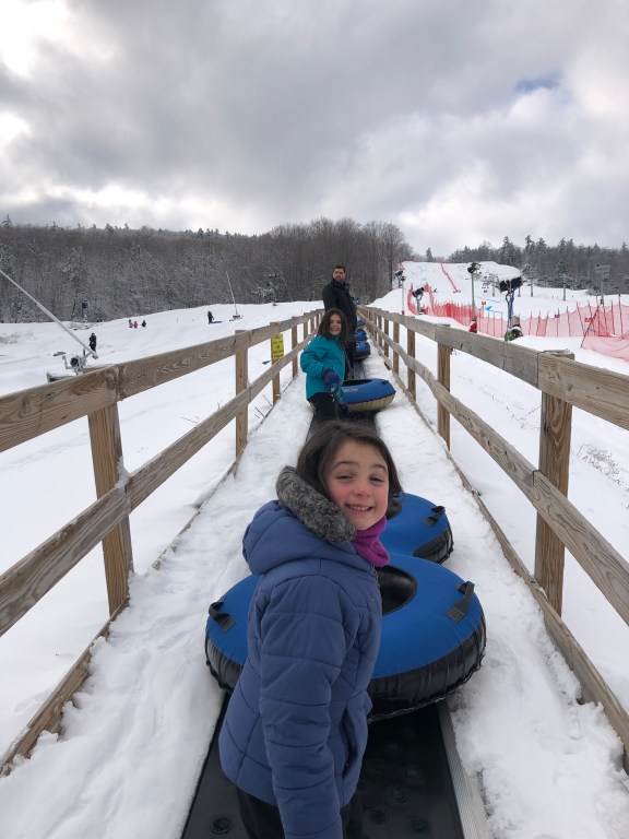 Heading to the top of the tubing lanes at West Mountain, NY