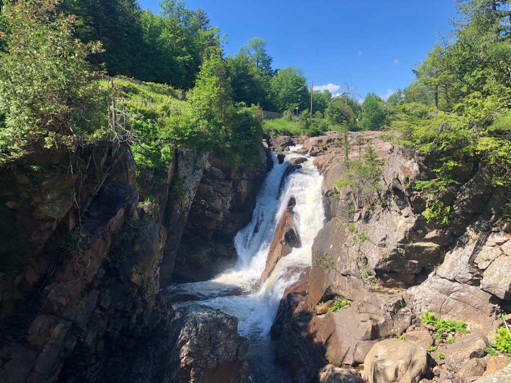 Waterfall at the High Falls Gorge in Lake Placid, New York #highfallsgorge #lakeplacid #adirondacks #upstateNY