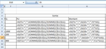fiche de stock CMPU+SI formules sortie