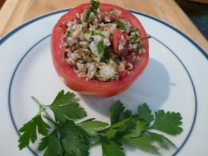 When tomatoes are producing, stuffed tomatoes are a good lunch.