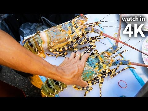 Ingesting Giant SPINY LOBSTER and Tiger Diminutive – Thailand Boulevard Food with Trevor James [Watch in 4K]!