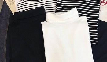 GCAROL Women T-shirt Turtleneck Striped Full Sleeve Stretch Tops Basic Drop Shoulder Undershirt Basic Perfect Pullover M-XL