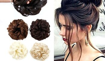 AOSIWIG Synthetic Chignon With Rubber Band Brown Blonde Women Curly Chignon Hair Clip In Hairpiece Bun Drawstring