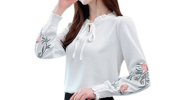Elegant New Puff Shoulder Blouse Shirts Embroidery Metal V-neck Casual Tops Bow Tie Shirt Detail Blouses Women Print Long Sleeve