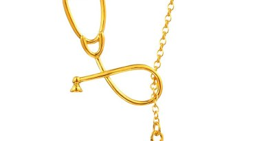 AMORUI Stethoscope Lariat Heart Stethoscope Pendant Necklace Nurse Medical Gold/Silver Color Gift Fashion Jewelry Bijoux Femme