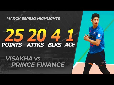 Marck Espejo (Visakha) Explosive Performance vs Prince Finance Highlights | Thailand V League
