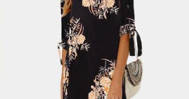 Women Summer Dress Floral Print Boho Beach Chiffon Dress Loose Casual O-neck Mini Party Dress Sundress Plus Size Vestidos