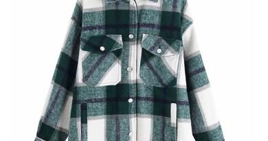 Vintage Stylish Pockets Oversized Plaid Jacket Coat Women 2019 Fashion Lapel Collar Long Sleeve Loose Outerwear Chic Tops