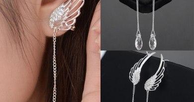Dreamlikelin Fashion Ear Cuff Clip Earrings Angel Wing Tassel Gold Silver Clear Pendant Women Long Tassel Earrings