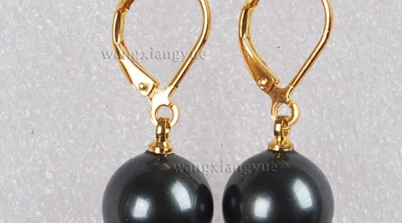 00 FREE SHIPPING d12mm Round Black south sea shell pearl 14K GP Hook dangle earrings AAA+