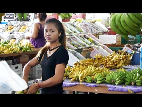 Tropical Fruits and exotic Lady in Pattaya, Thailand
